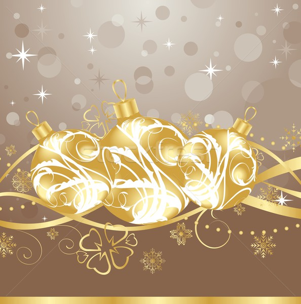 background with Christmas balls and tinsel Stock photo © smeagorl