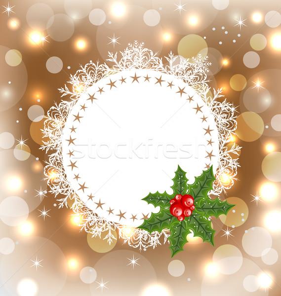 Natal cartão visco ilustração árvore quadro Foto stock © smeagorl