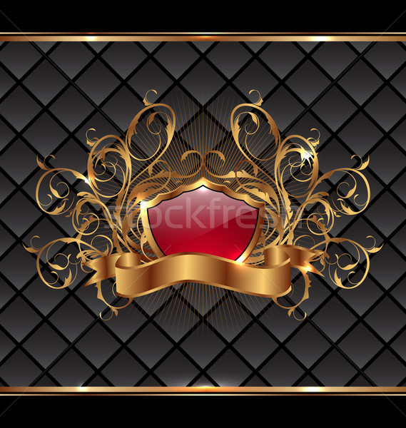 Gold elegance frame with heraldic shield Stock photo © smeagorl
