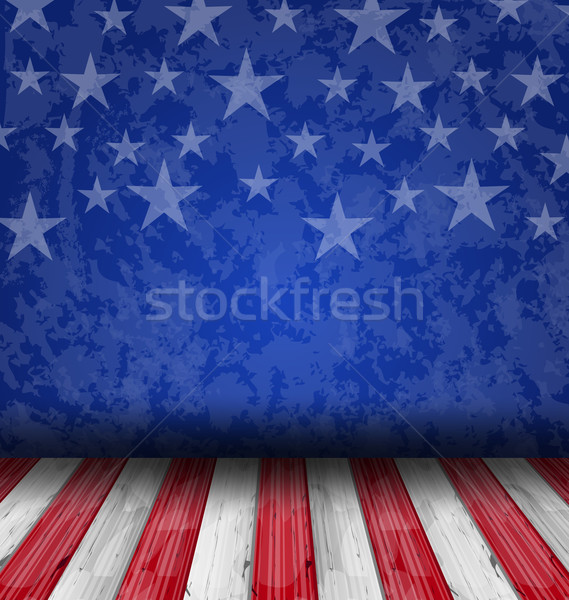 Empty wooden deck table over USA flag background Stock photo © smeagorl