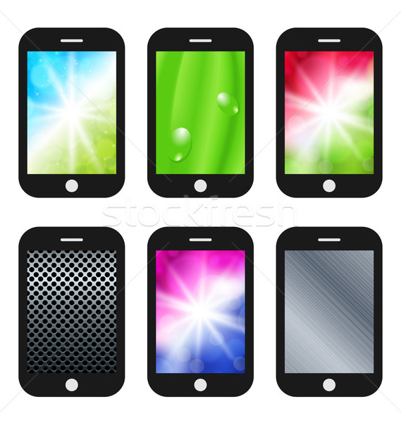 Black mobile phone with different wallpapers (abstract backgroun Stock photo © smeagorl