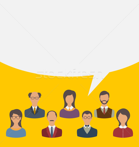Unity Of Business People Team With Speech Bubble, Modern
