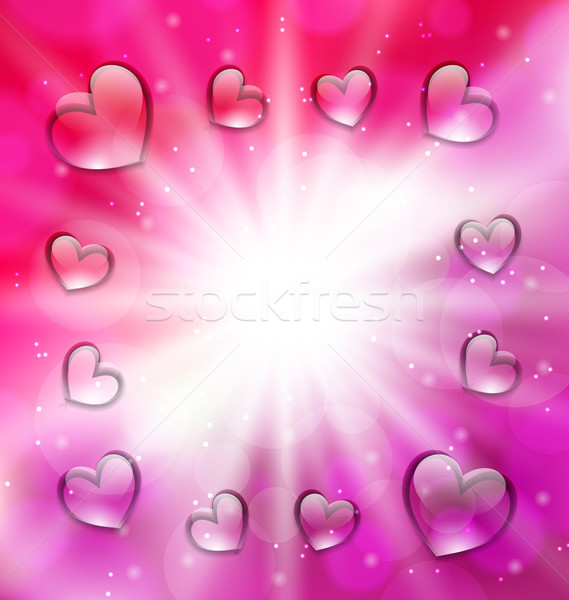 Llighten background with glassy hearts for Valentine Day, copy,  Stock photo © smeagorl