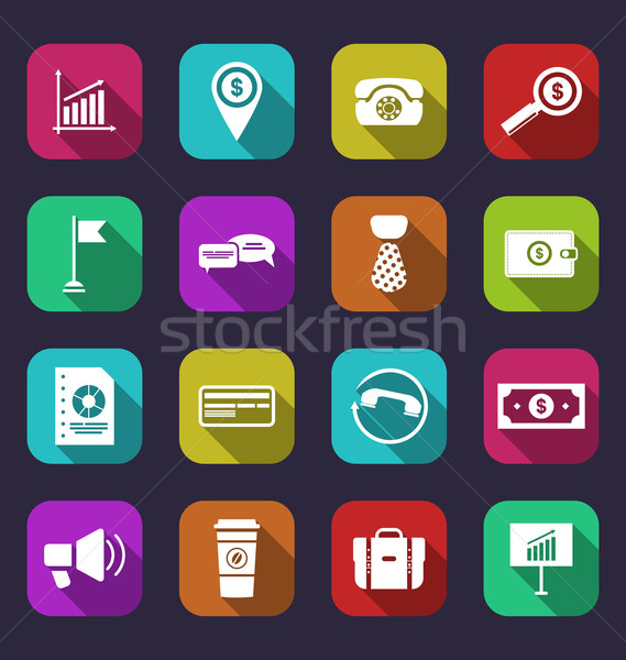 Collection simple flat icons of business and financial items, wi Stock photo © smeagorl