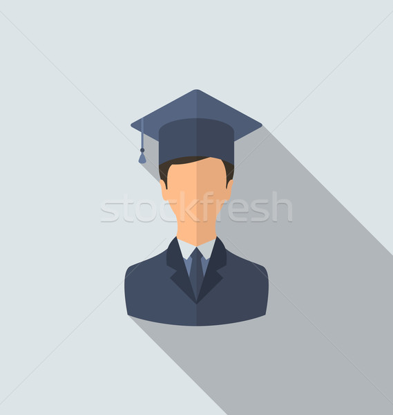 Flat icon of male graduate in graduation hat, minimal style with Stock photo © smeagorl