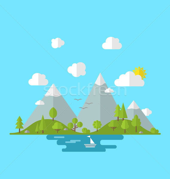 Landscape woods valley hill forest land scene view background Stock photo © smeagorl