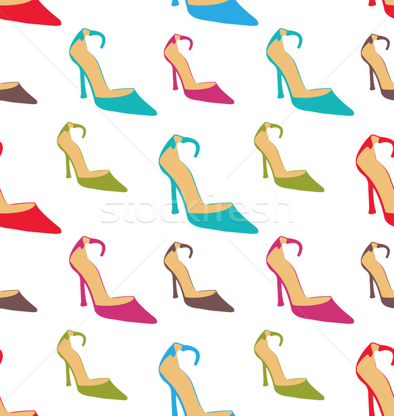 Seamless Texture with Women Summer Shoes Stock photo © smeagorl