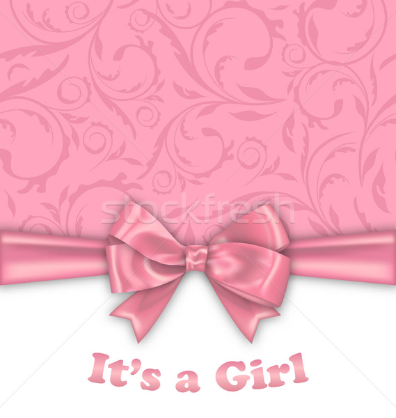 Girl Baby Shower Invitation Card with Pink Bow Ribbon Stock photo © smeagorl