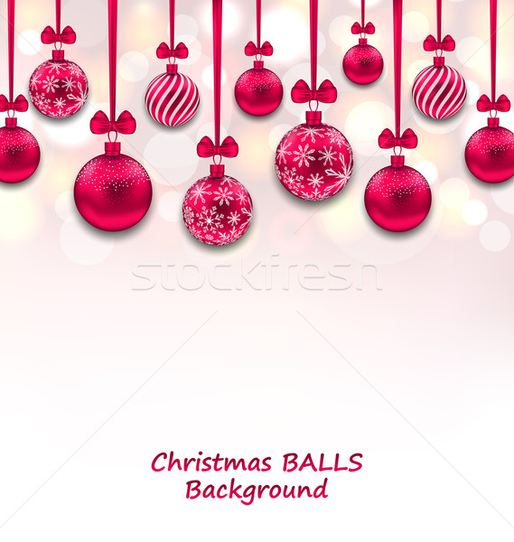 Christmas Background with Pink Glassy Balls with Bow Ribbon Stock photo © smeagorl