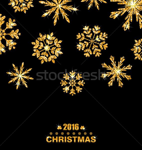 Golden Celebration Card with Sparkle Snowflakes Stock photo © smeagorl