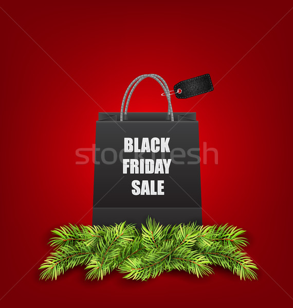Sale Shopping Bag with Fir Twigs for Black Friday Sales Stock photo © smeagorl