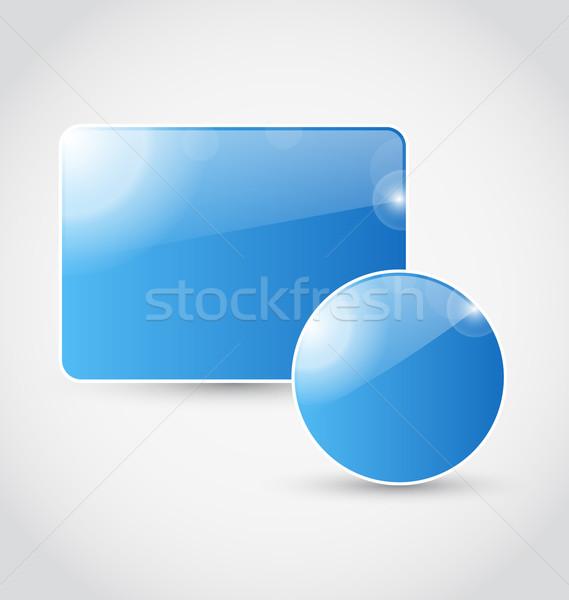 Ingesteld Blauw geïsoleerd illustratie achtergrond Stockfoto © smeagorl