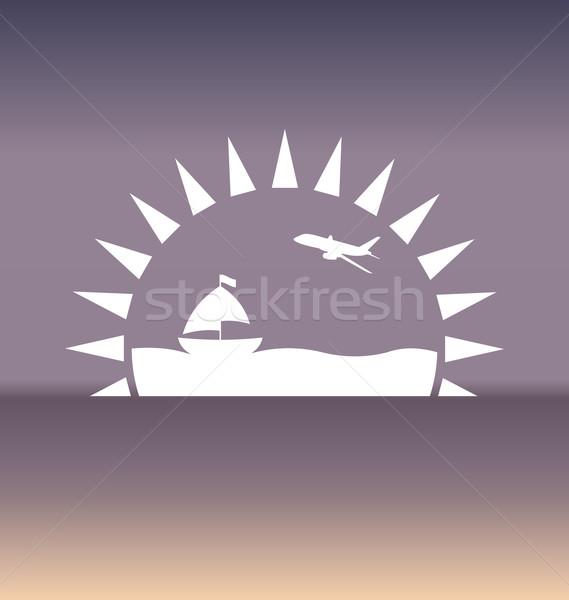 Design template with summer holiday background Stock fotó © smeagorl