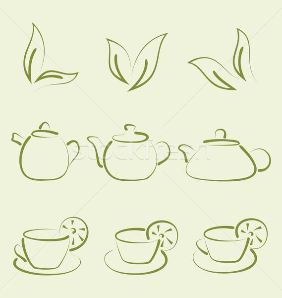 Bitkisel çaylar ayarlamak örnek kahve imzalamak Stok fotoğraf © smeagorl