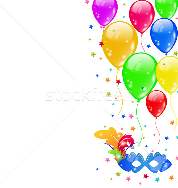 Stock photo: Carnival background with mask and  balloons