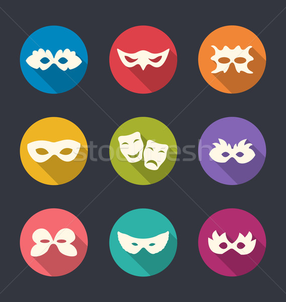 Set flat icons of Carnival or theatre masks with long shadows Stock photo © smeagorl