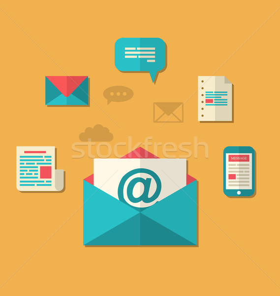 Concept of email marketing - newsletter and subscription, flat t Stock photo © smeagorl