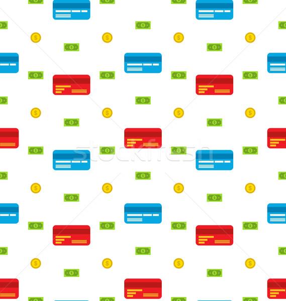 Creditcards bank merkt munten financieren Stockfoto © smeagorl