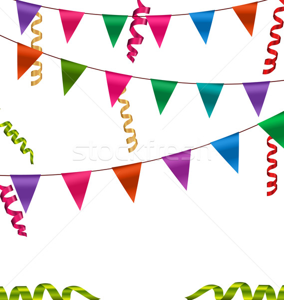 Colorful Buntings Flags Garlands and Serpentine Stock photo © smeagorl