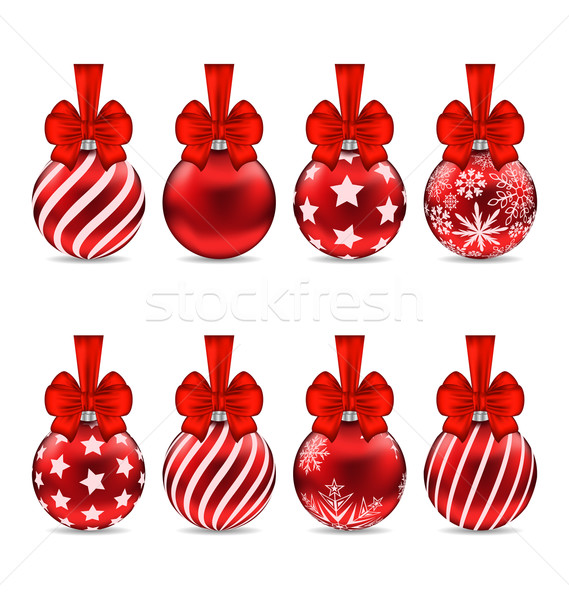 Set Christmas Red Glassy Balls with Bow Stock photo © smeagorl