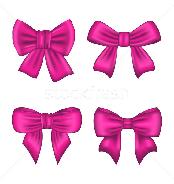 Collection Pink Silk Gift Bows Isolated Stock photo © smeagorl