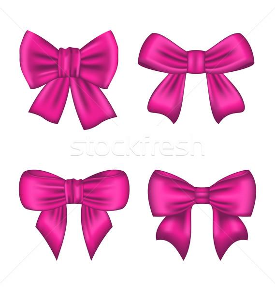Collectie roze zijde geschenk bogen geïsoleerd Stockfoto © smeagorl
