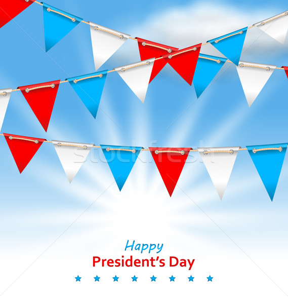 Bunting Flags in Patriotic Colors of USA for Happy Presidents Da Stock photo © smeagorl