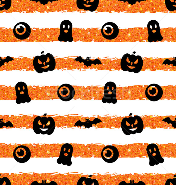Seamless Texture with Pumpkin, Bat, Spooky, Eye Stock photo © smeagorl