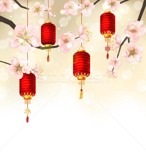 Sevimli sakura çiçek asılı örnek Stok fotoğraf © smeagorl