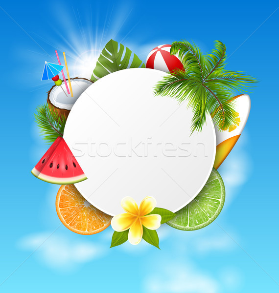 Clean Card with Coconut Cocktail, Slice Watermelon, Orange Fruit, Palm Leaves Stock photo © smeagorl