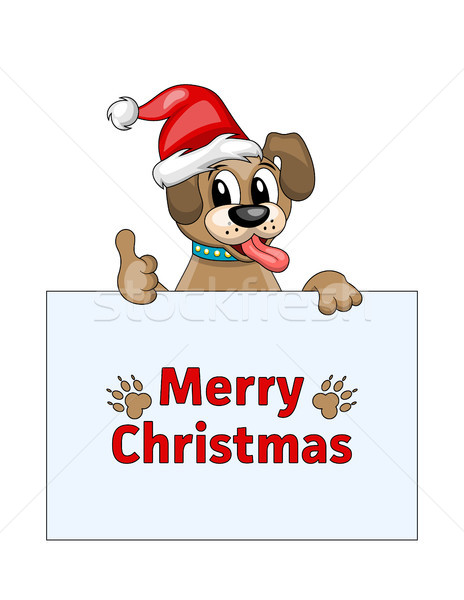 Merry Christmas Card with Cool Dog in Santa Hat Stock photo © smeagorl