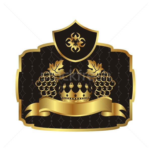 gold label with grapevine with crown Stock photo © smeagorl