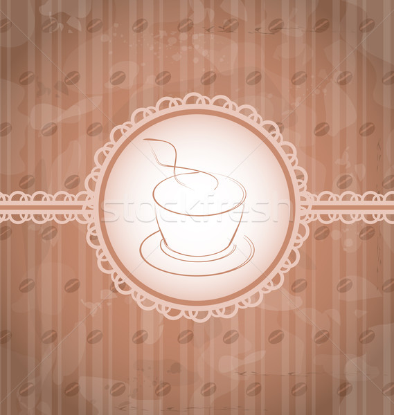 Vintage background with coffee label, coffee bean's texture Stock photo © smeagorl