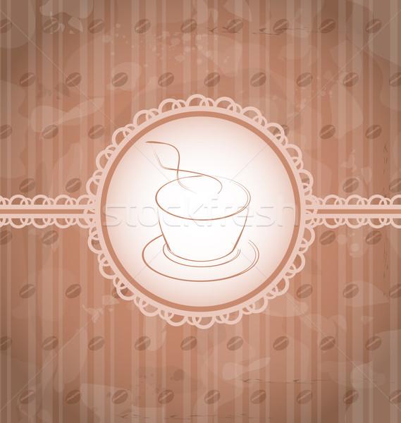 Vintage café étiquette grains de café texture illustration Photo stock © smeagorl