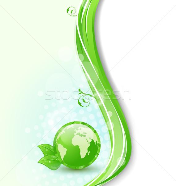Globalny planety eco zielone liście ilustracja Pokaż Zdjęcia stock © smeagorl
