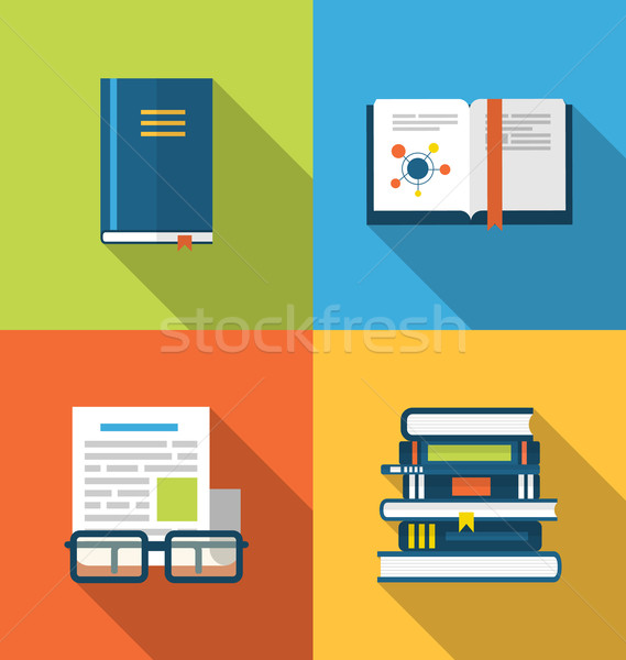 Flat icons design of handbooks, books and publish documents, lon Stock photo © smeagorl