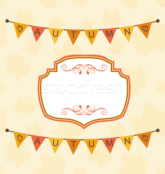 Autumn Cute Frame with Bunting Pennants Stock photo © smeagorl