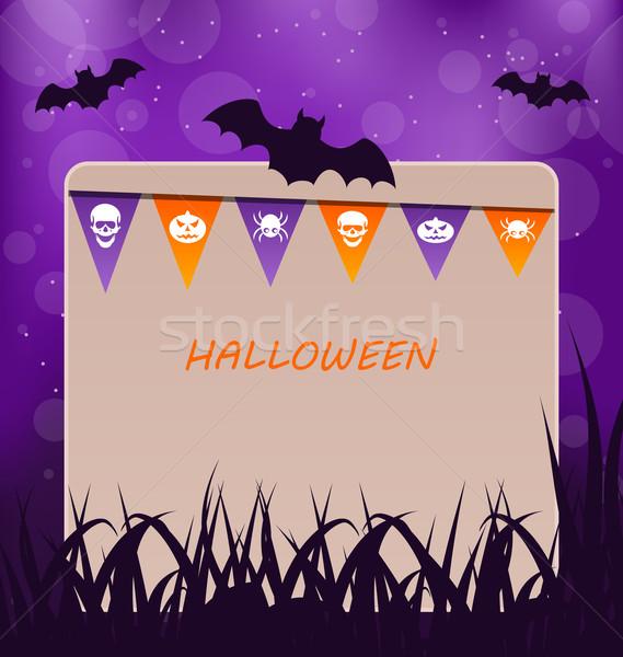 Foto d'archivio: Halloween · party · carta · impiccagione · bandiere · illustrazione