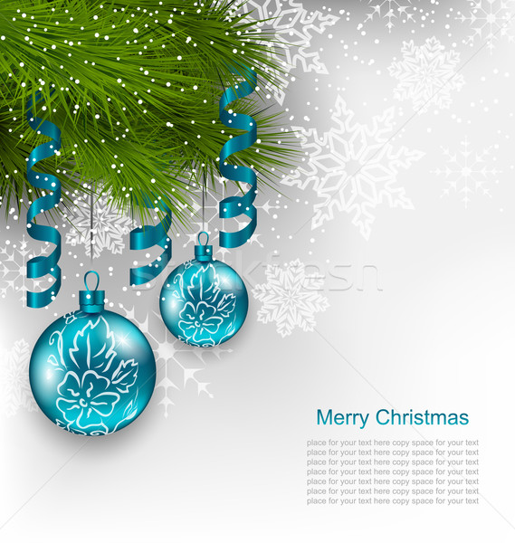 Christmas Background with Hanging Glass Balls Stock photo © smeagorl