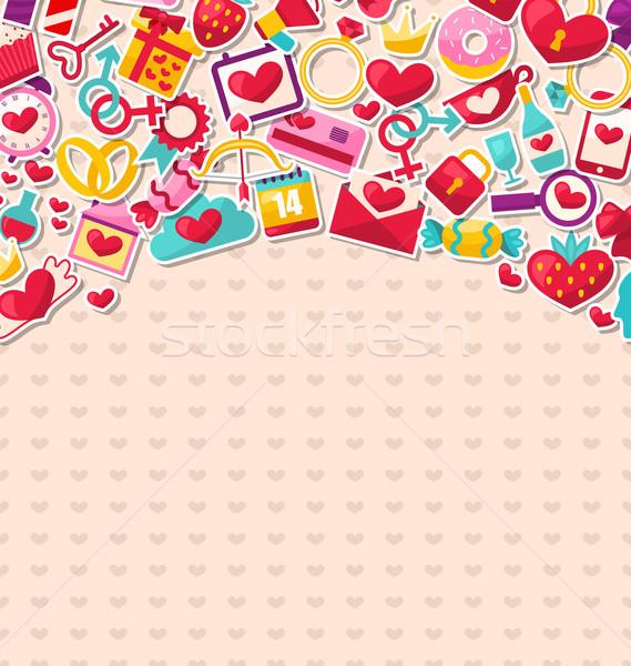 Stock fotó: Absztrakt · képeslap · boldog · valentin · nap · illusztráció · Valentin · nap