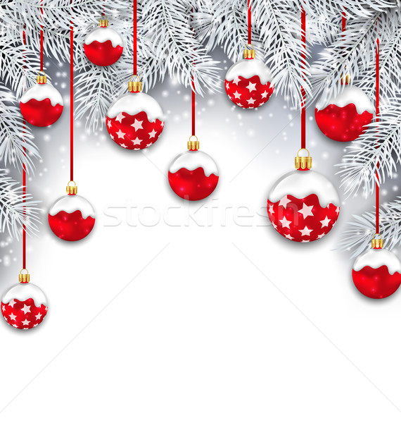 Holiday Snowing Background with Silver Fir Branches Stock photo © smeagorl