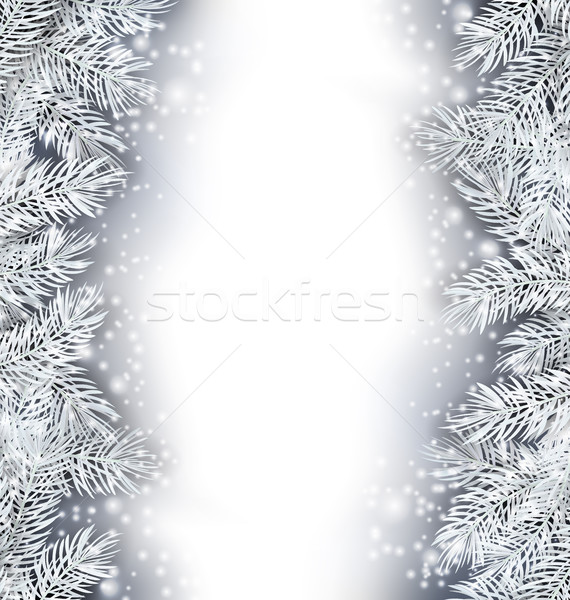 Holiday Glowing Frame with Fir Branches Stock photo © smeagorl
