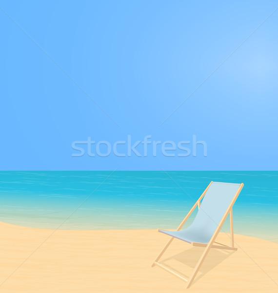 Plaży krajobraz pokład krzesło słoneczny splash Zdjęcia stock © smeagorl