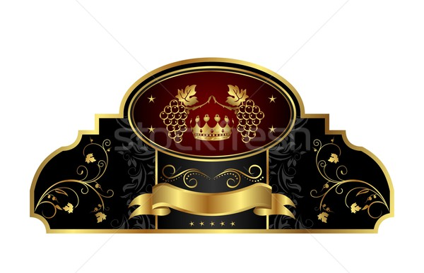 decorative gold frame label with grapevine Stock photo © smeagorl