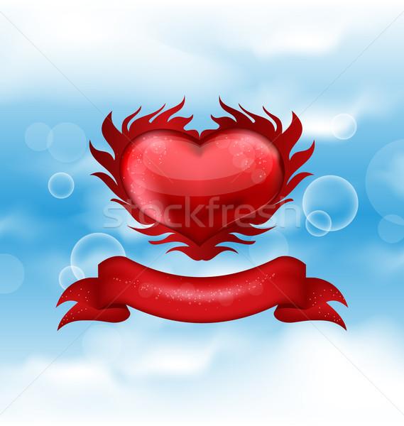 Vermelho coração blue sky dia dos namorados ilustração céu Foto stock © smeagorl
