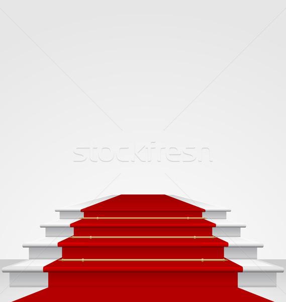 階段 カバー レッドカーペット 孤立した 実例 パーティ ストックフォト © smeagorl