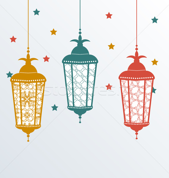 Intricate Arabic lamps for Ramadan Kareem Stock photo © smeagorl