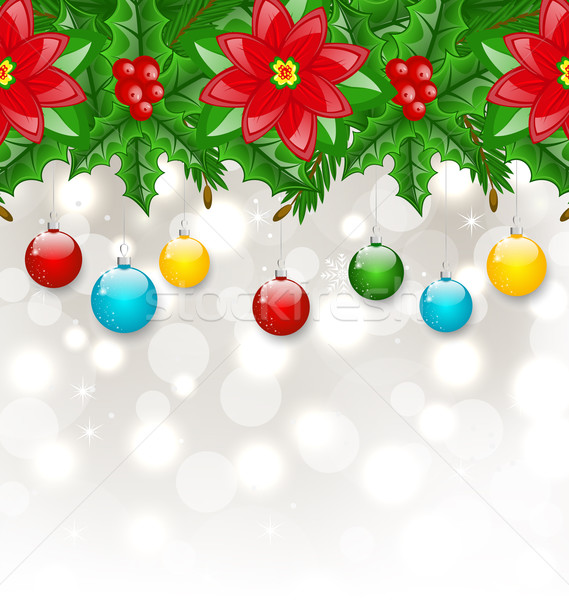 Christmas background with balls, holly berry, pine and poinsetti Stock photo © smeagorl