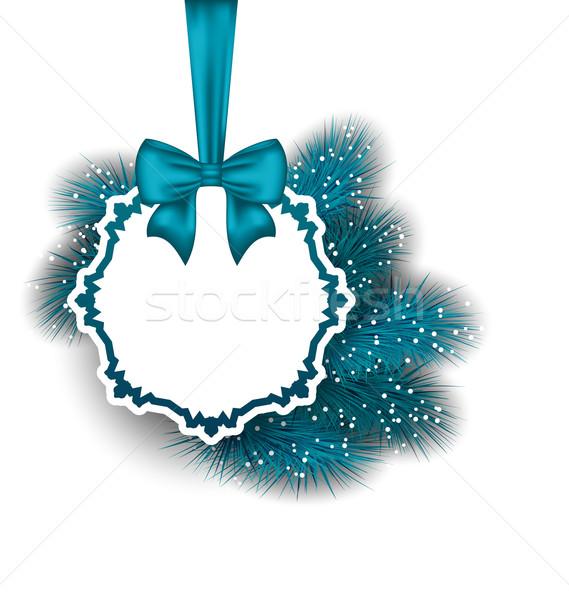 Gift card wstążka jodła ilustracja Zdjęcia stock © smeagorl