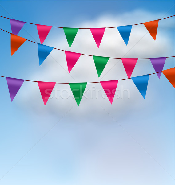 Multicolored Buntings Flags Garlands Stock photo © smeagorl